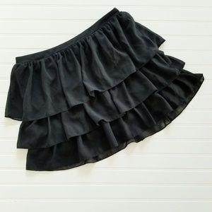 H&M Black Tiered Ruffle Mini Skirt Size 12